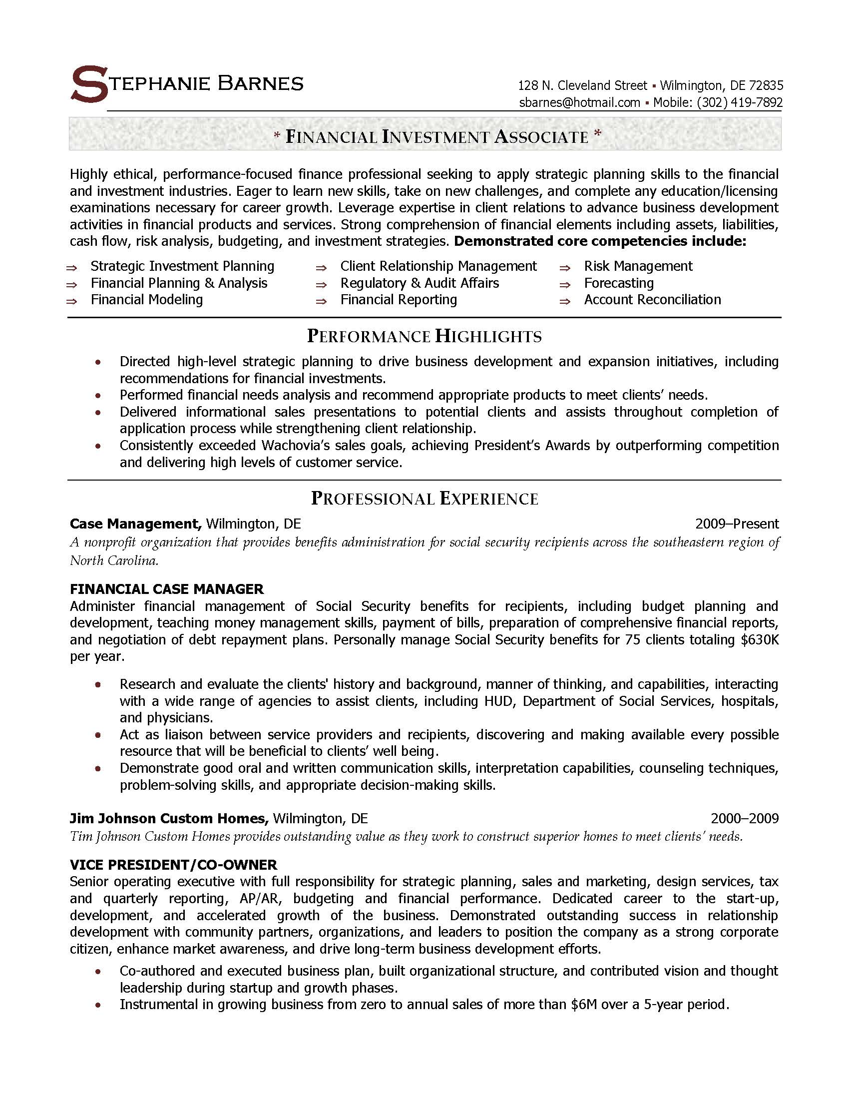 ... Investment Associate Resume Sample - Elite Resume Writing Services