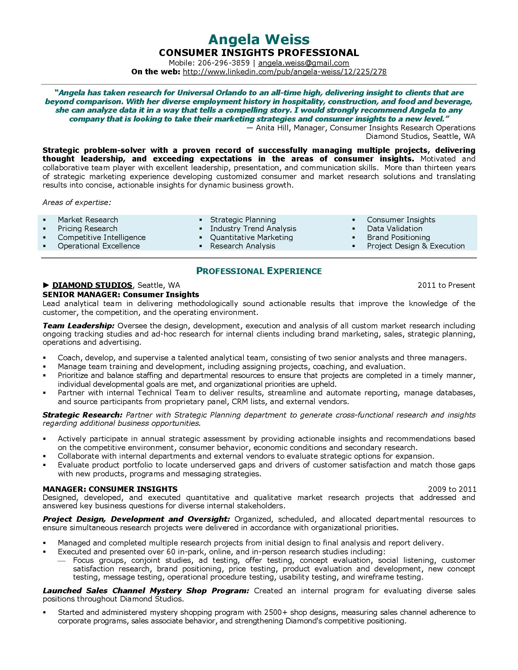 consumer insights resume sample, provided by Elite Resume Writing Services