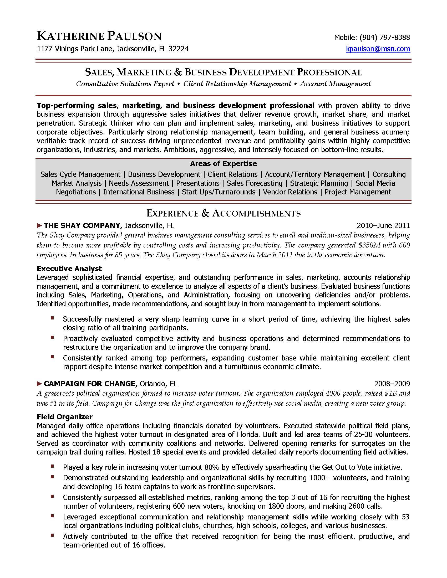 business development director resume sample, provided by Elite Resume Writing Services