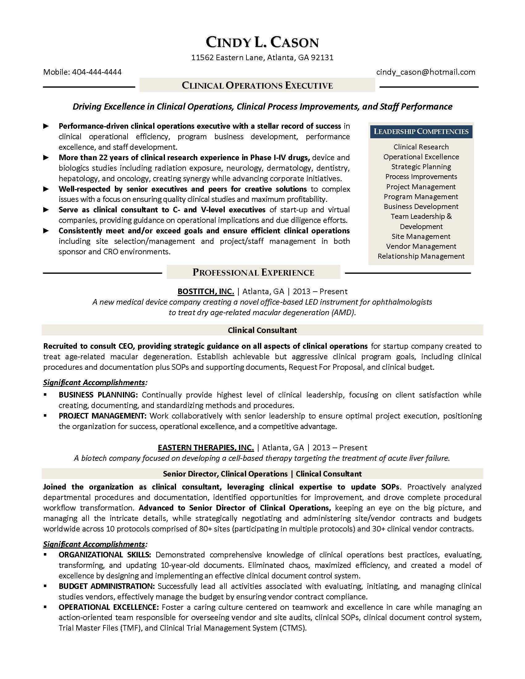 clinical operations executive resume sample, provided by Elite Resume Writing Services