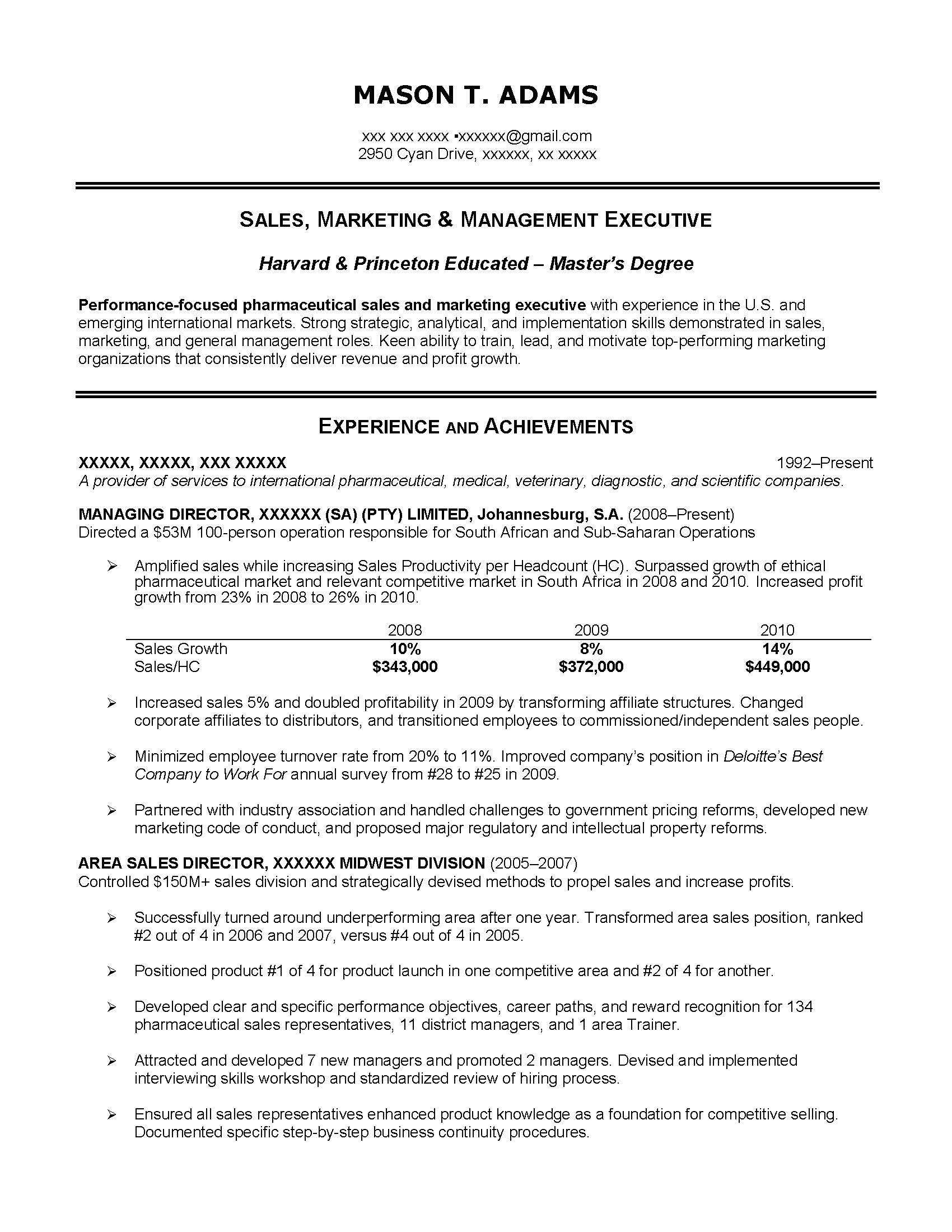 Executive Sales Resume Sample, Provided By Elite Resume Writing Services  Pharmaceutical Sales Resume Sample