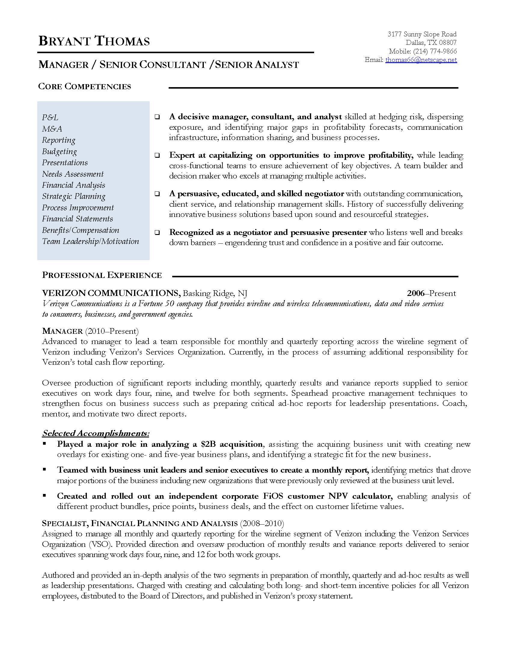 finance manager resume sample, provided by Elite Resume Writing Services