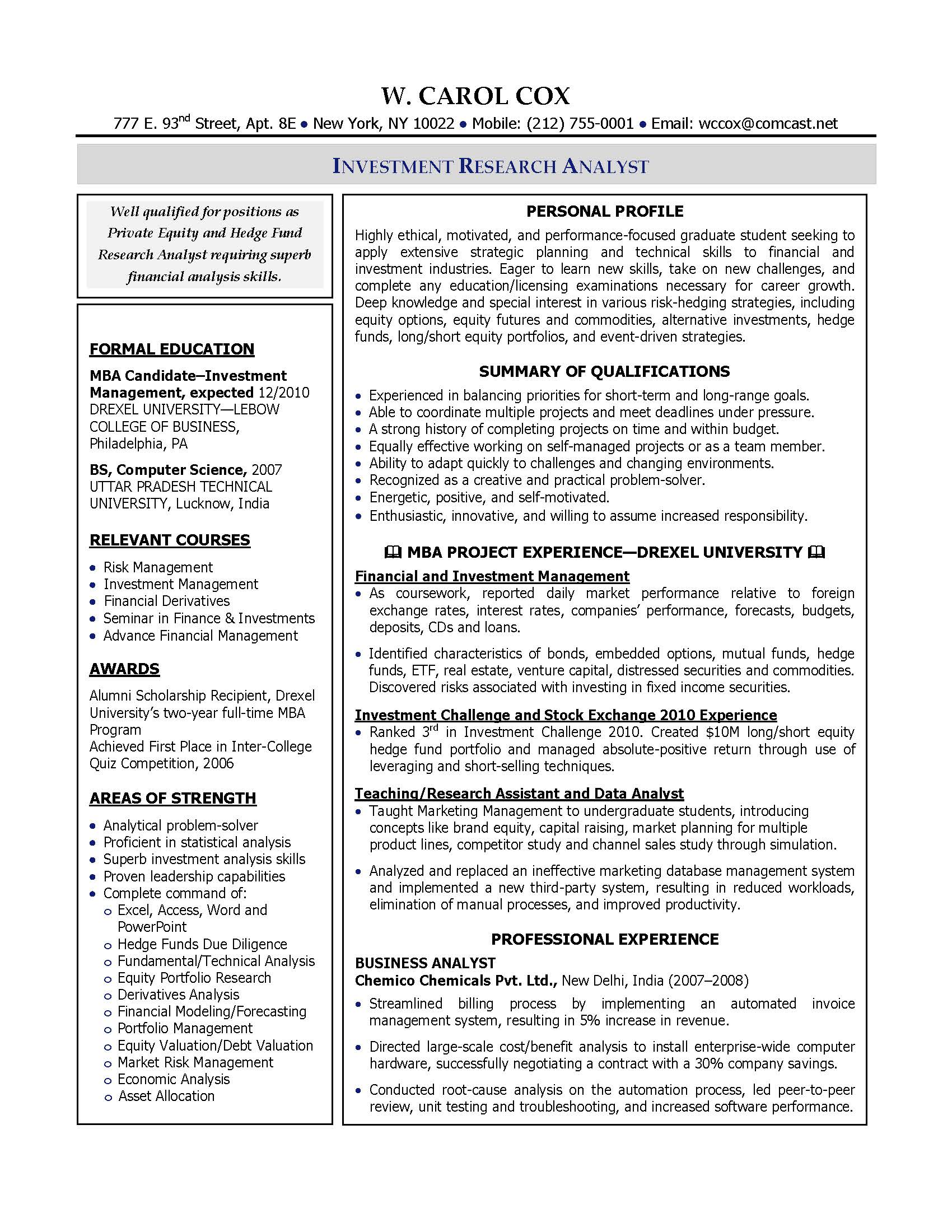 investment research analyst resume sample provided by elite resume writing services - Financial Resume Example