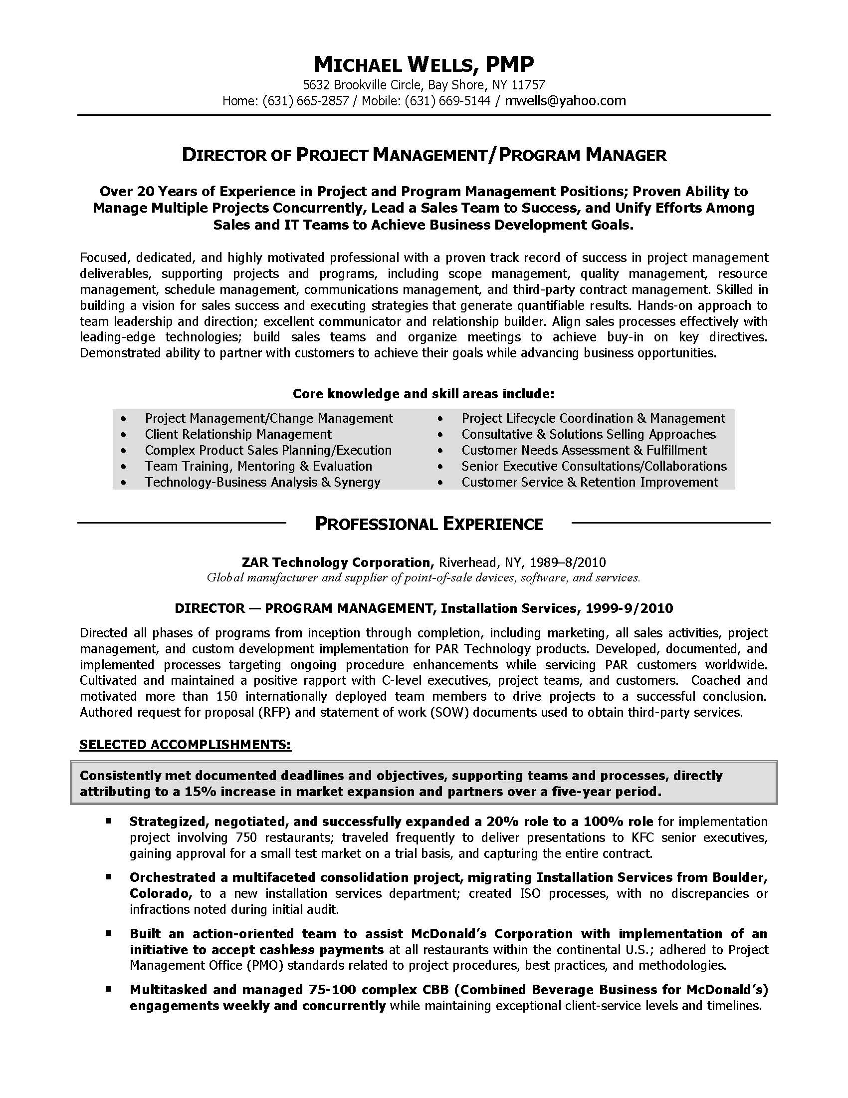 project management director resume sample provided by elite resume writing services - Resume Samples Project Manager