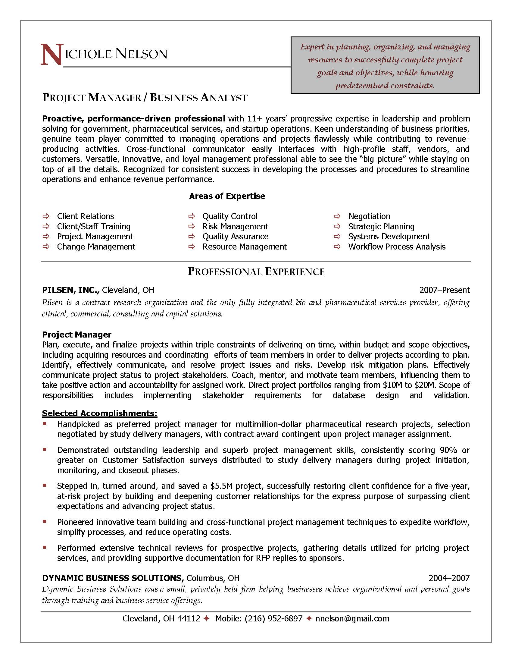 resume project manager example