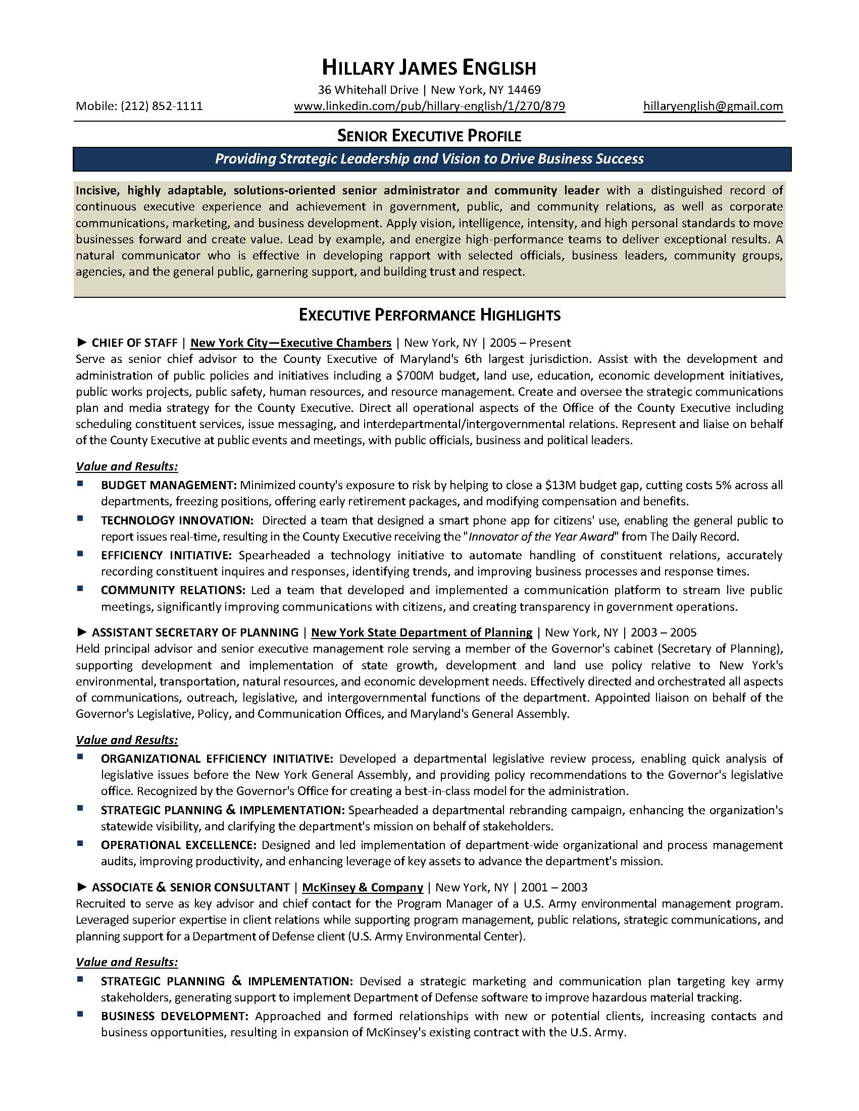 senior executive resume sample, provided by Elite Resume Writing Services